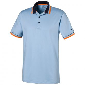 X Tipped Golf Polo - Blue Bell